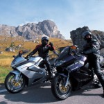 Aprilia shot of a pair of pre-production Futuras in The Dolomites