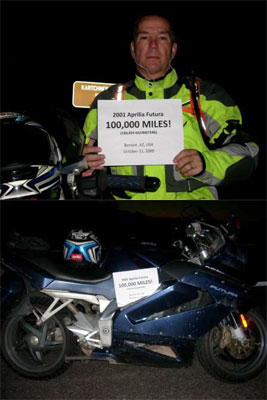 Fanatic celebrates 100,000 miles on his Aprilia Futura