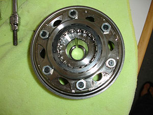 RSVR flywheel showing the weight attached by six bolts.
