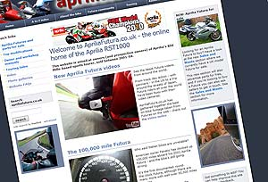 The first version of the Aprilia Futura website back in 2009
